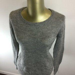 H&M Basic Round Neck Gray Acrylic Knitted Hi-Lo